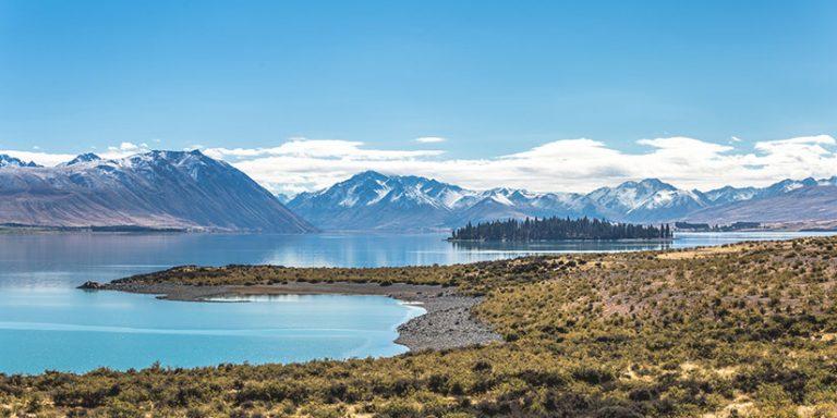 Lake Tekapo in a sunny day