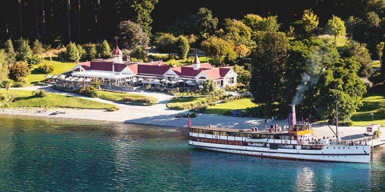 TSS Earnslaw cruise shi and Walter Peak homestead in Queenstown