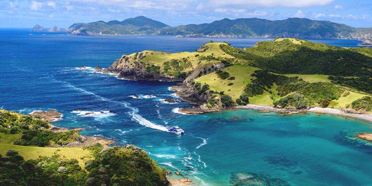 cruise ship approaching bay in Bay of Islands