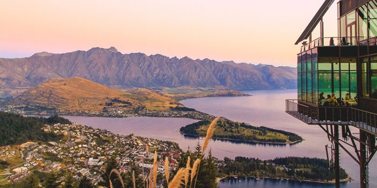 Stratosfare restaurant with views of Lake Wakatipu and the Remarkables